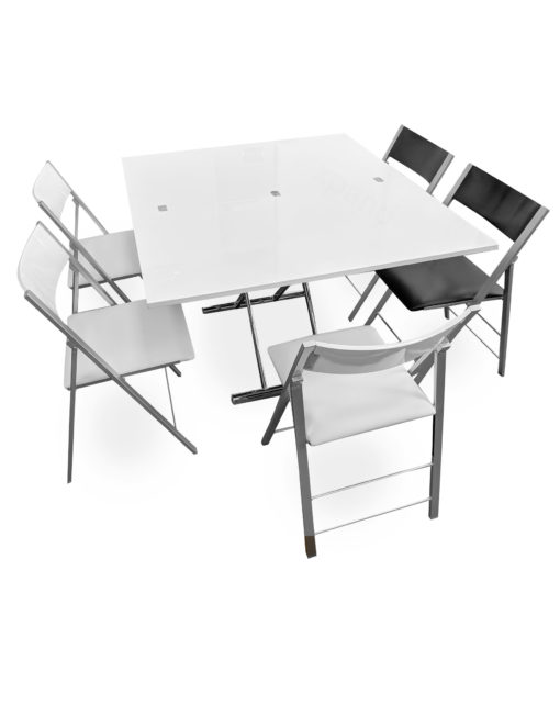 Alzare-transforming-hydrualic-lift-table-with-6-nano-chairs-set