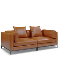 Mid century modern leather sofa for apartments - Migliore 100% leather