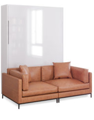 MurphySofa-Migliore-2-seat-sofa-system-in-leather-brown-with-glossy-white-wall-bed