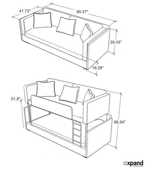 Dormire v2 from Italy - Bunk bed couch combination double decker sofa sleeps 2 dimensions