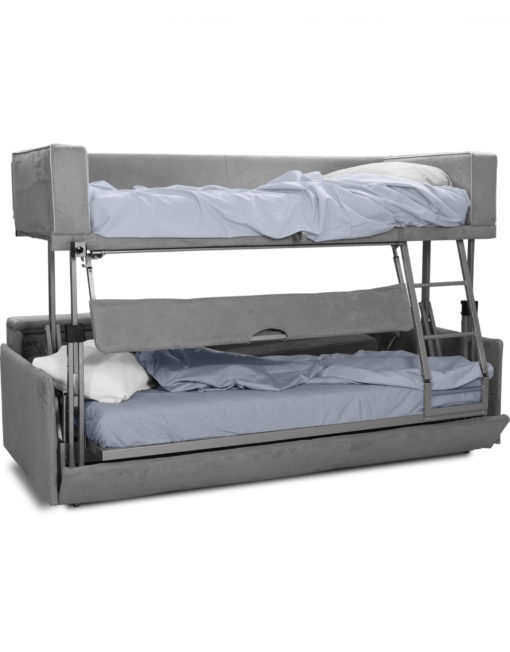 Dormire v2 from Italy - Sofa lifts into bunk bed in grey