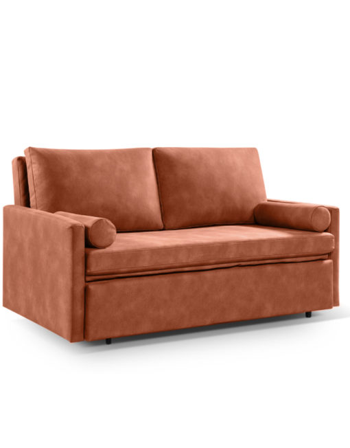 Harmony 2 - queen eco leather - Brown Terracotta sleeper sofa with memory foam