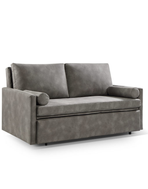 Harmony 2 - queen eco leather - Coastal grey sleeper sofa with memory foam