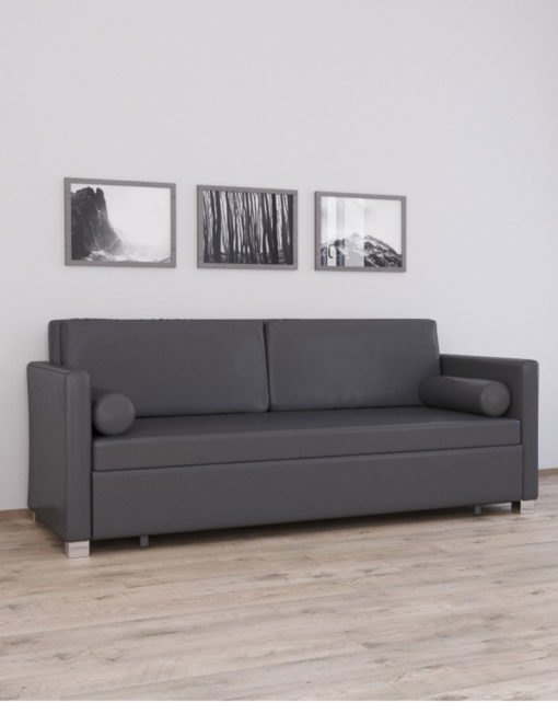 Harmony Sofa Bed In Charcoal Leather