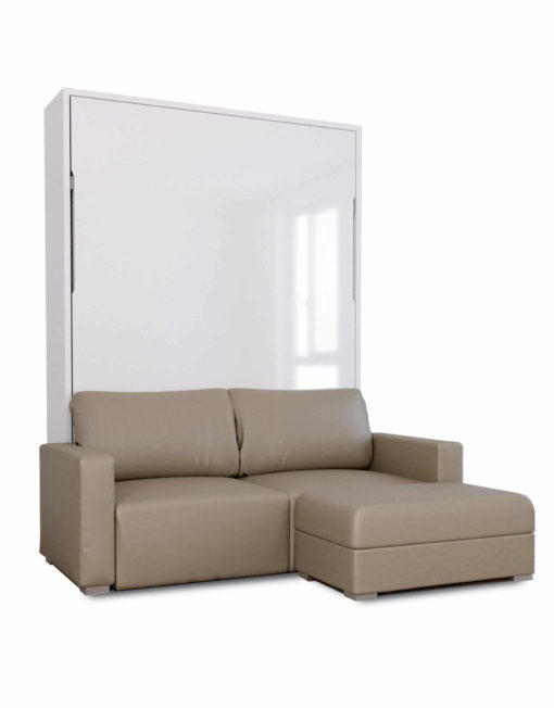 MurphySofa-Minima-in-white-glosss-with-Taupe-eco-faux-leather