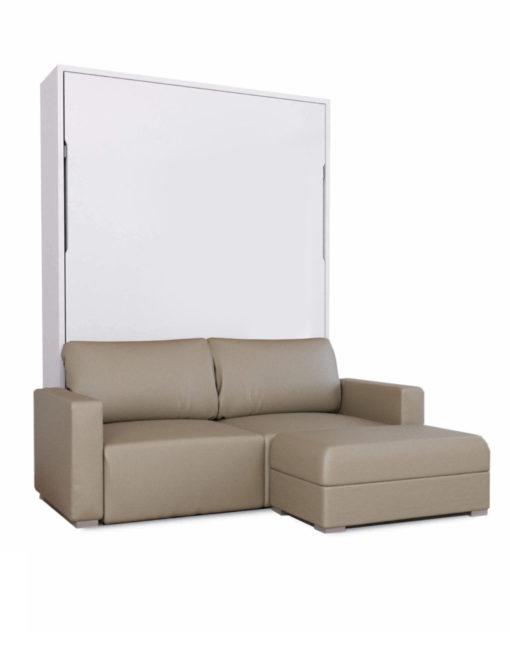 Pu-Taupe-leather-sofa-with-white-matte-wall-bed-MurphySofa-Minima