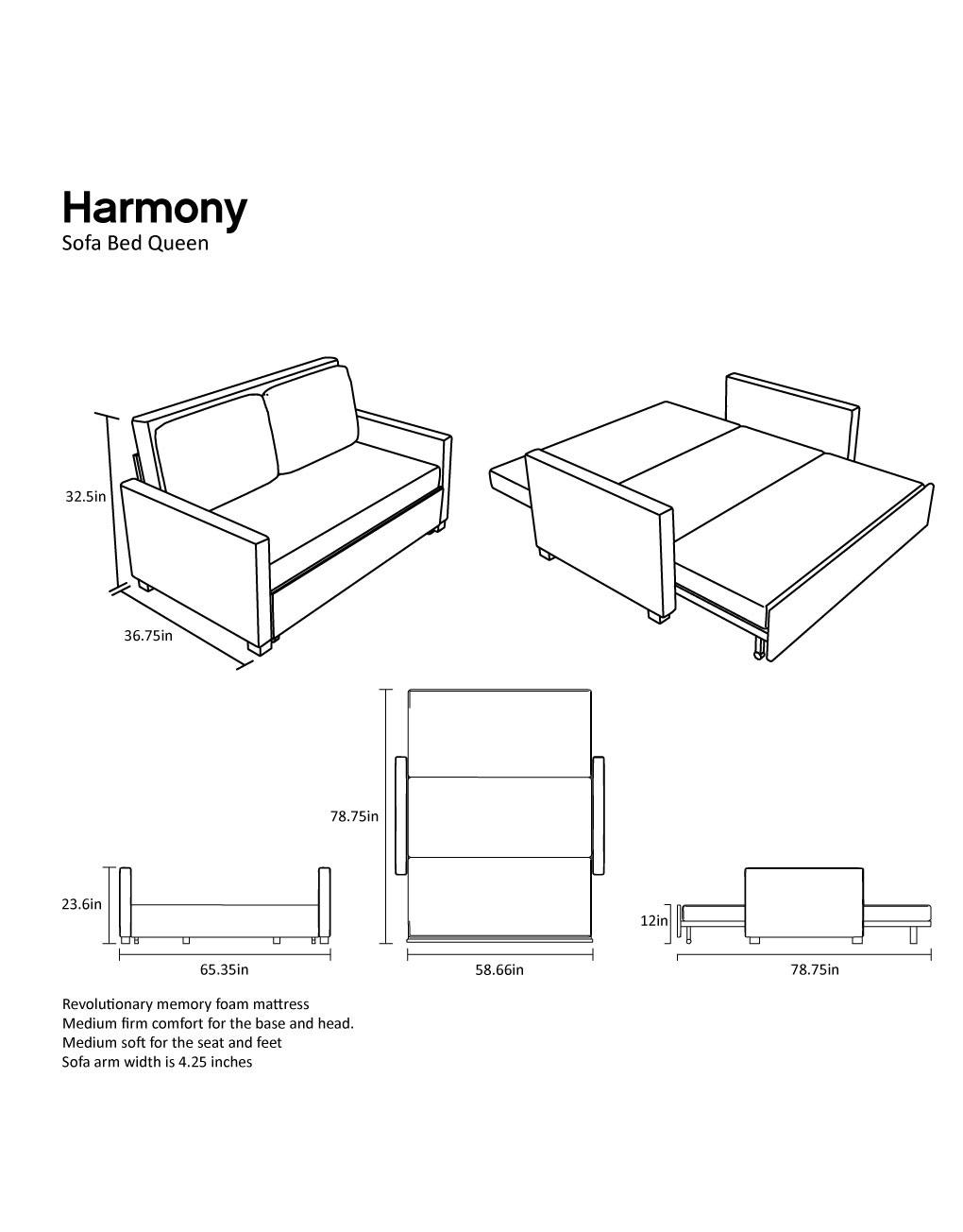Queen Size Memory Foam Sofa Bed
