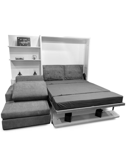 Compatto-Shelf-Wall-Bed opened-over-Sectional-Sofa