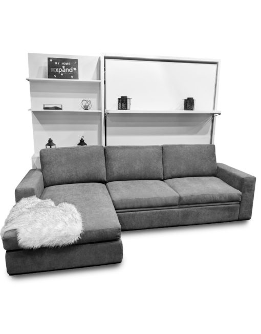 Compatto-float-Wall-Bed-with-shelf-over large-Sectional-Sofa