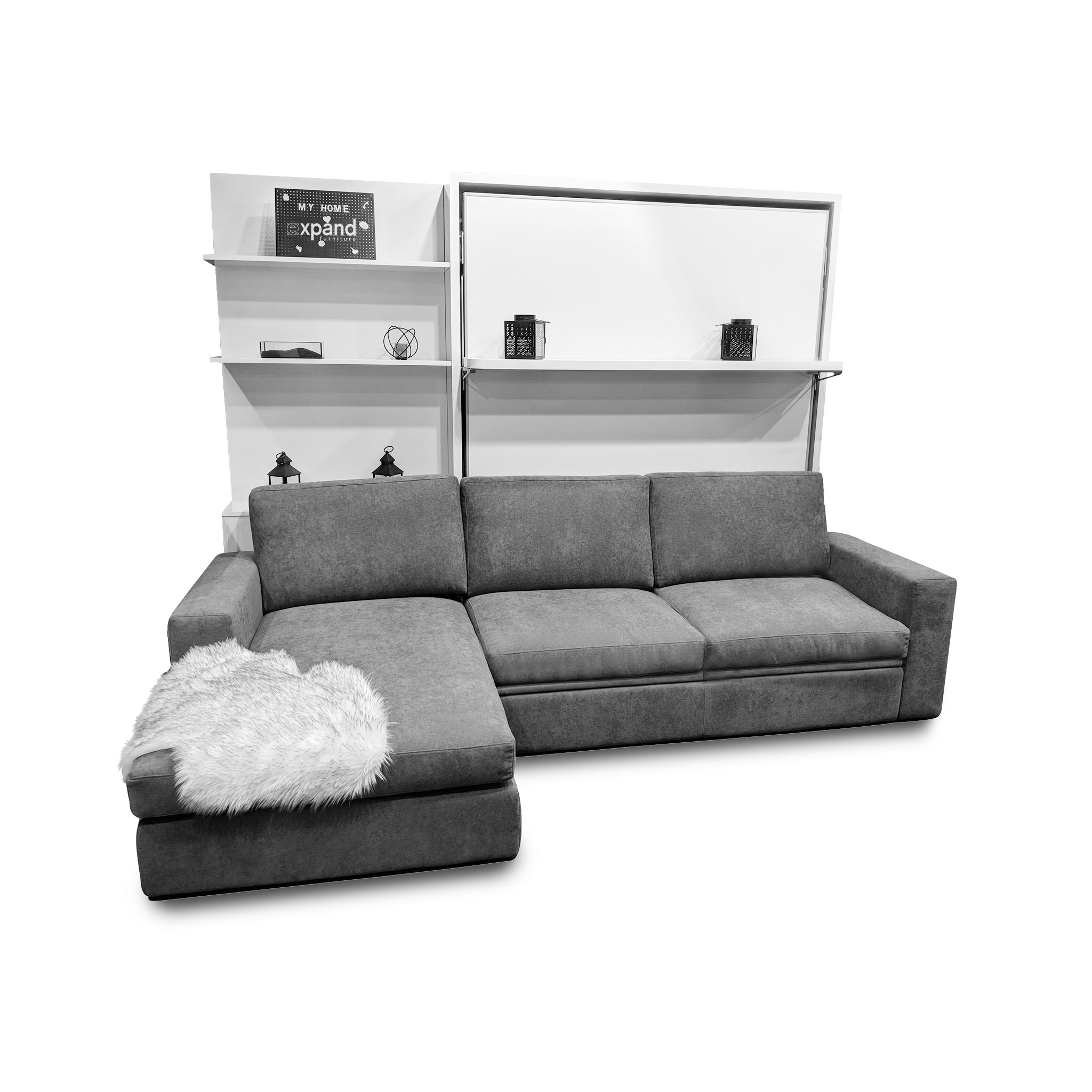 Stupendous Compatto Shelf Wall Bed Over Sectional Sofa Evergreenethics Interior Chair Design Evergreenethicsorg