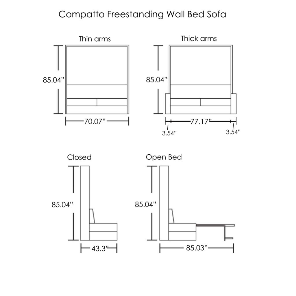 Compatto-freestanding-wall-bed-sofa-dimensions