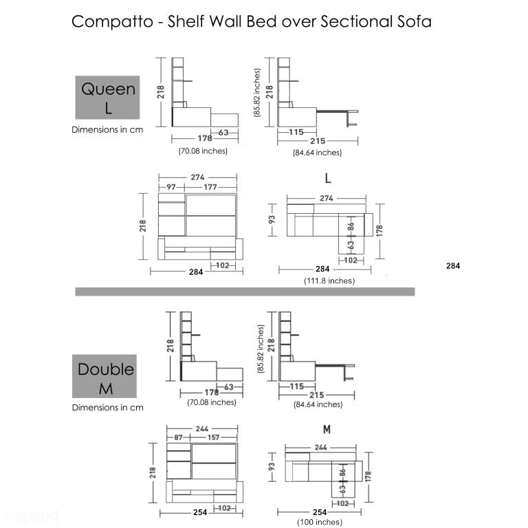 Compatto Shelf Wall Bed Over Sectional Sofa Expand Furniture Folding Tables Smarter Wall Beds Space Savers