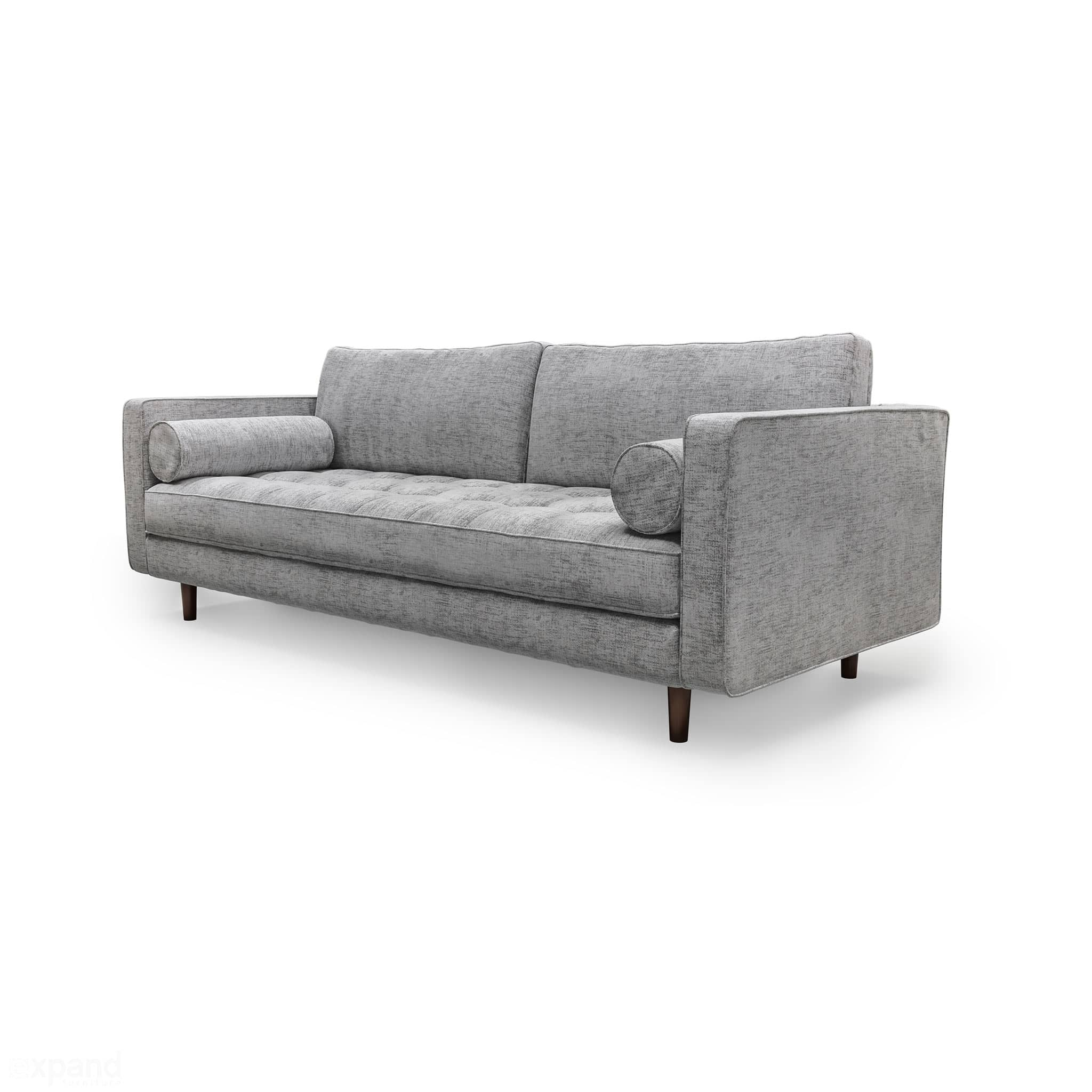Scandormi Modern Sofa: Grey mid-century tufted couch