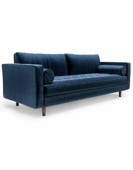 Expand-Furniture-Modern Tufted Sofa in Navy-Blue-Velvet-microfiber-with-bolster-pillows