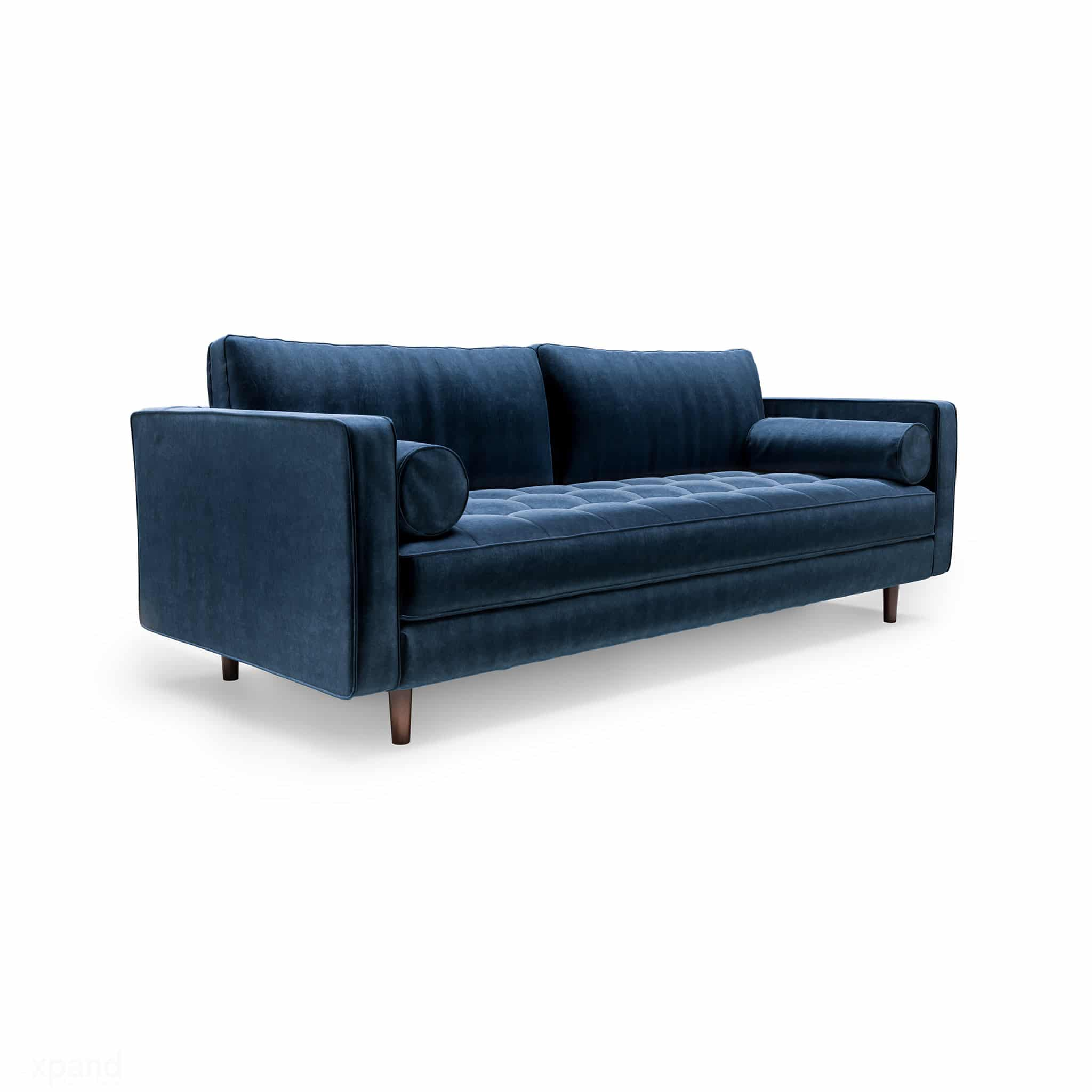 Scandormi Modern Sofa: Navy Blue mid-century tufted couch