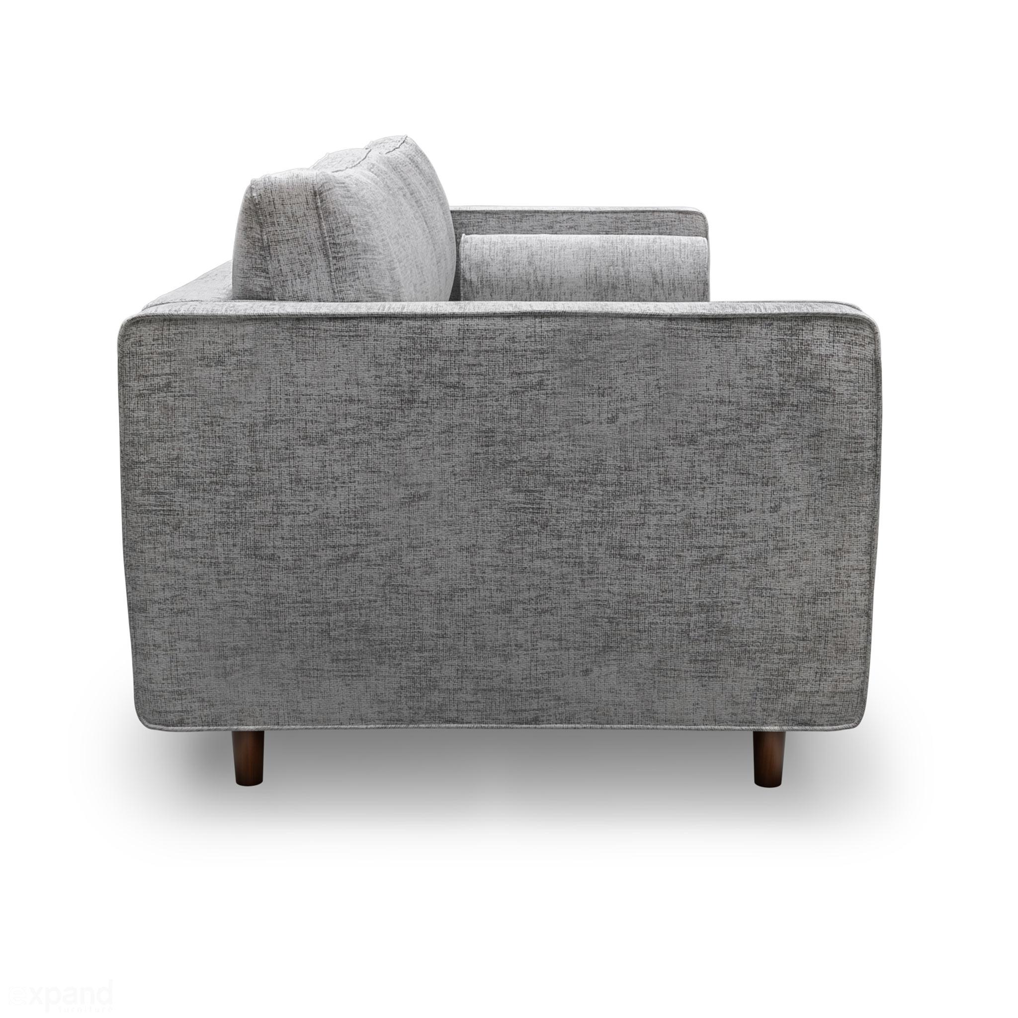 Scandormi Modern Sofa: Grey mid-century tufted couch