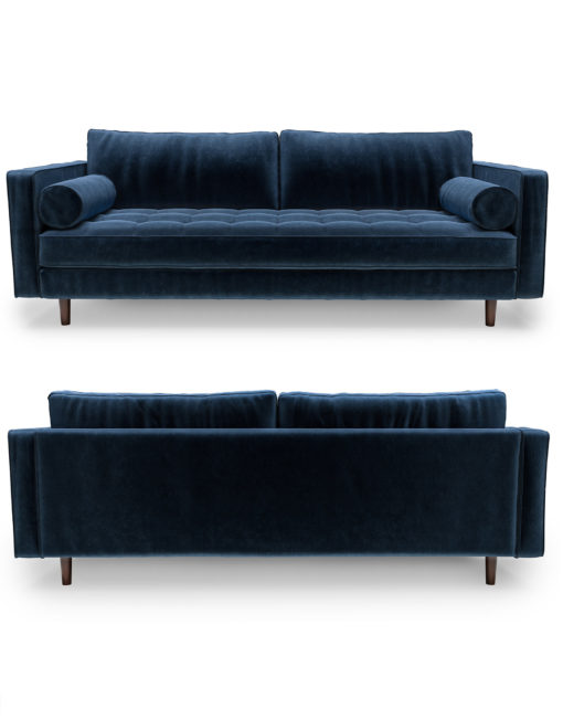 Scandormi-Contemporary-Modern-Tufted-Sofa-in-Blue-Velvet-microfiber-with-bolster-pillows