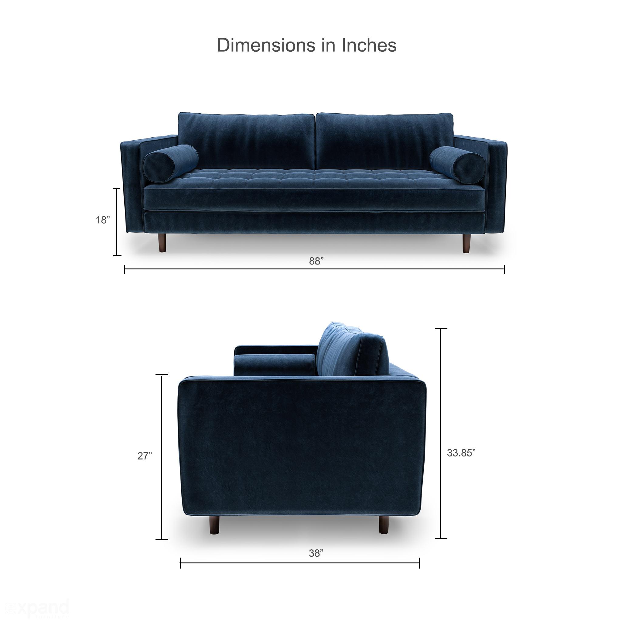 Fantastic Scandormi Modern Sofa Navy Blue Mid Century Tufted Couch Ibusinesslaw Wood Chair Design Ideas Ibusinesslaworg