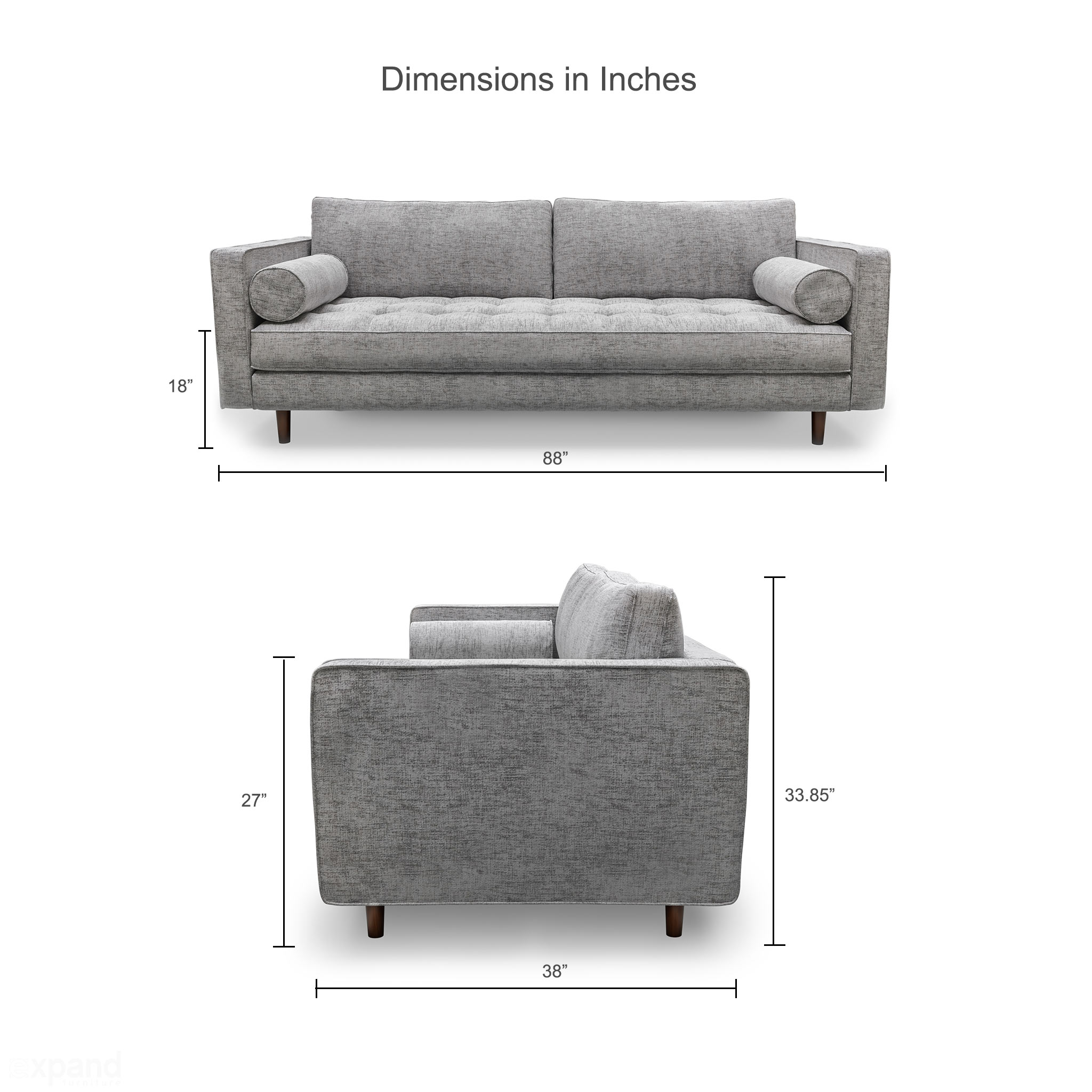 Scandormi Modern Sofa: Grey mid-century tufted couch | Expand ...