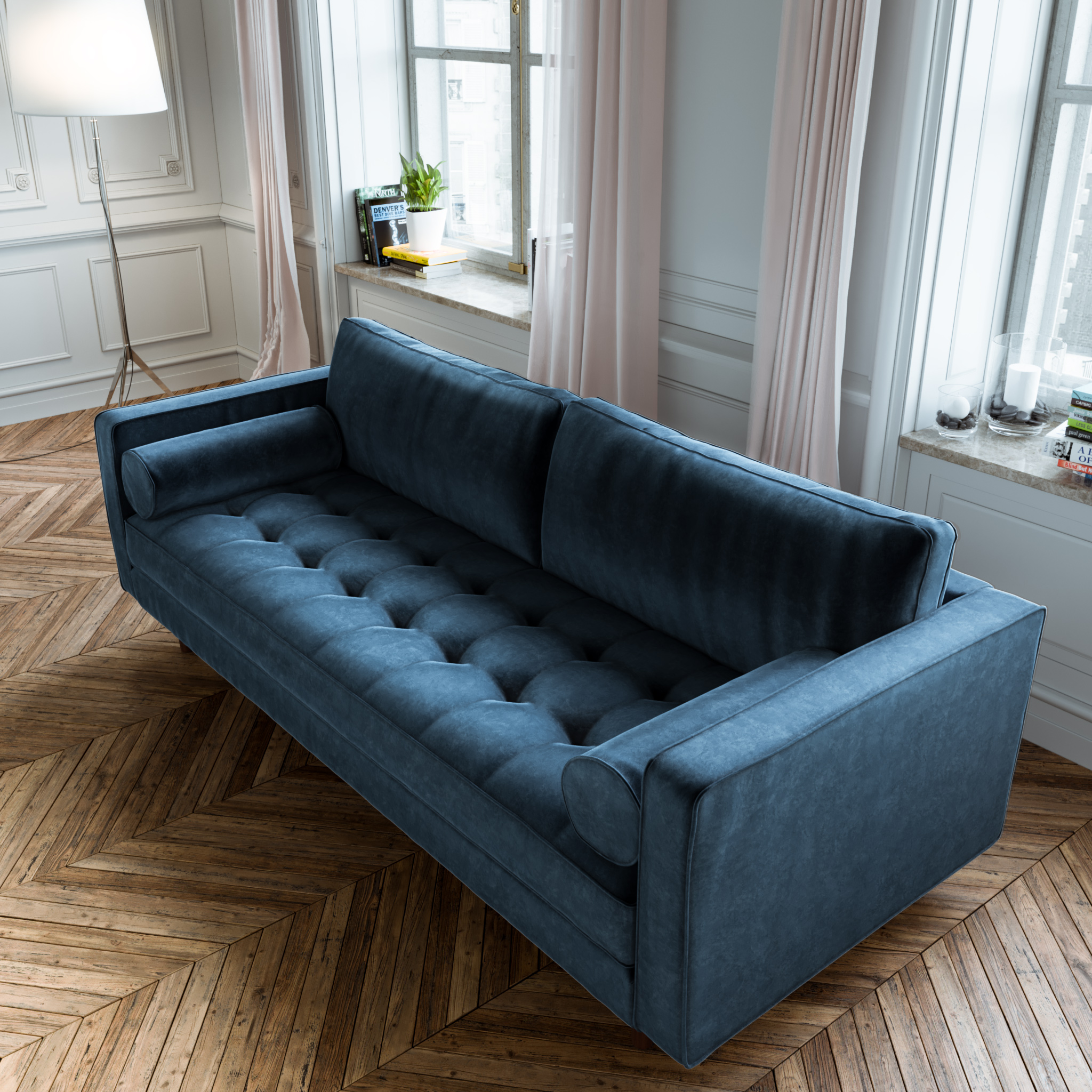 Navy Blue Mid Century Tufted Couch