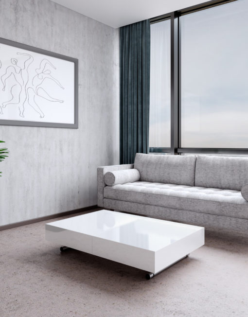 Scandormi-mid-century-modern-sofa-in-grey-weave-fabric-with-glossy-white-box-coffee-table-in-modern-apartment