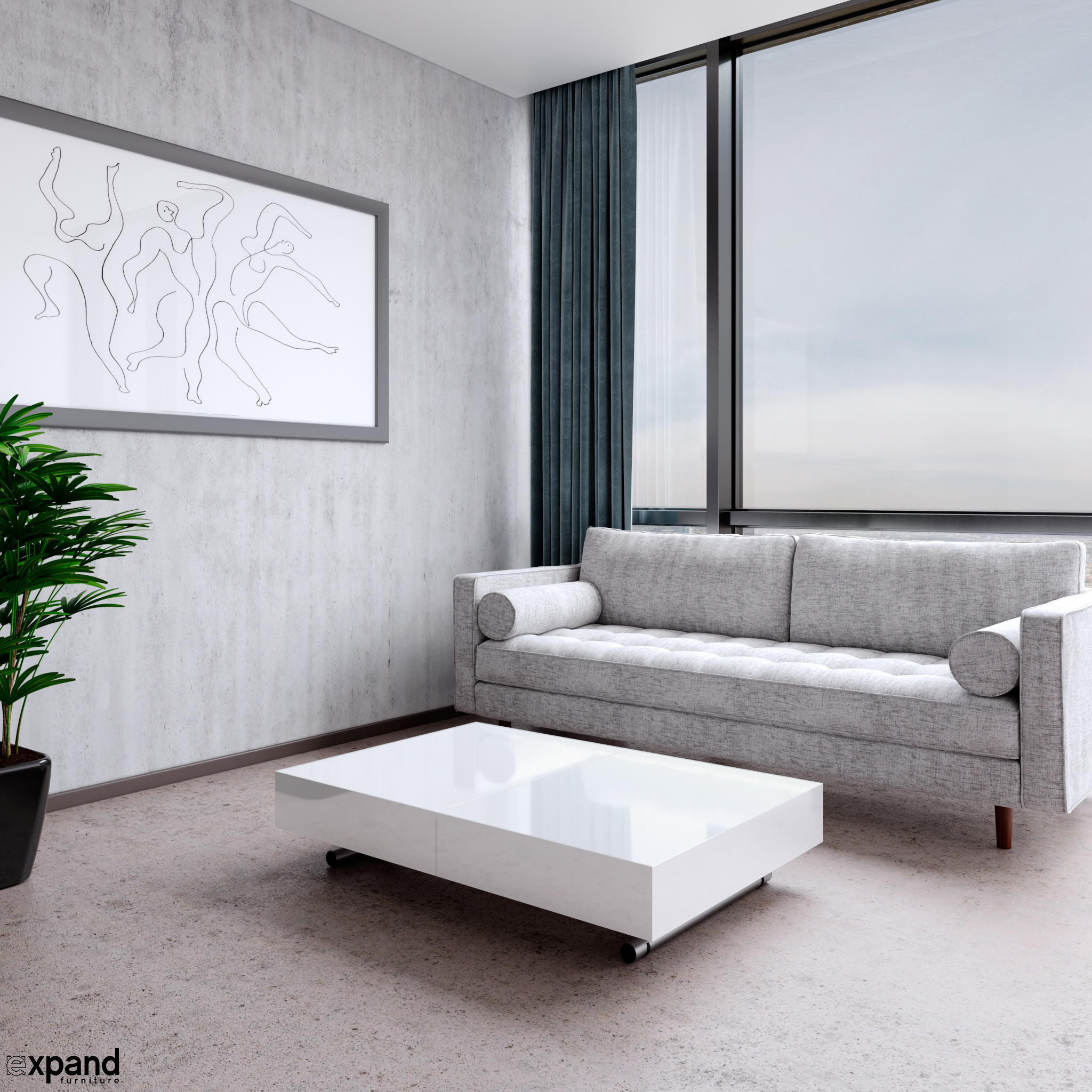 Scandormi Modern Sofa Grey Mid Century Tufted Couch