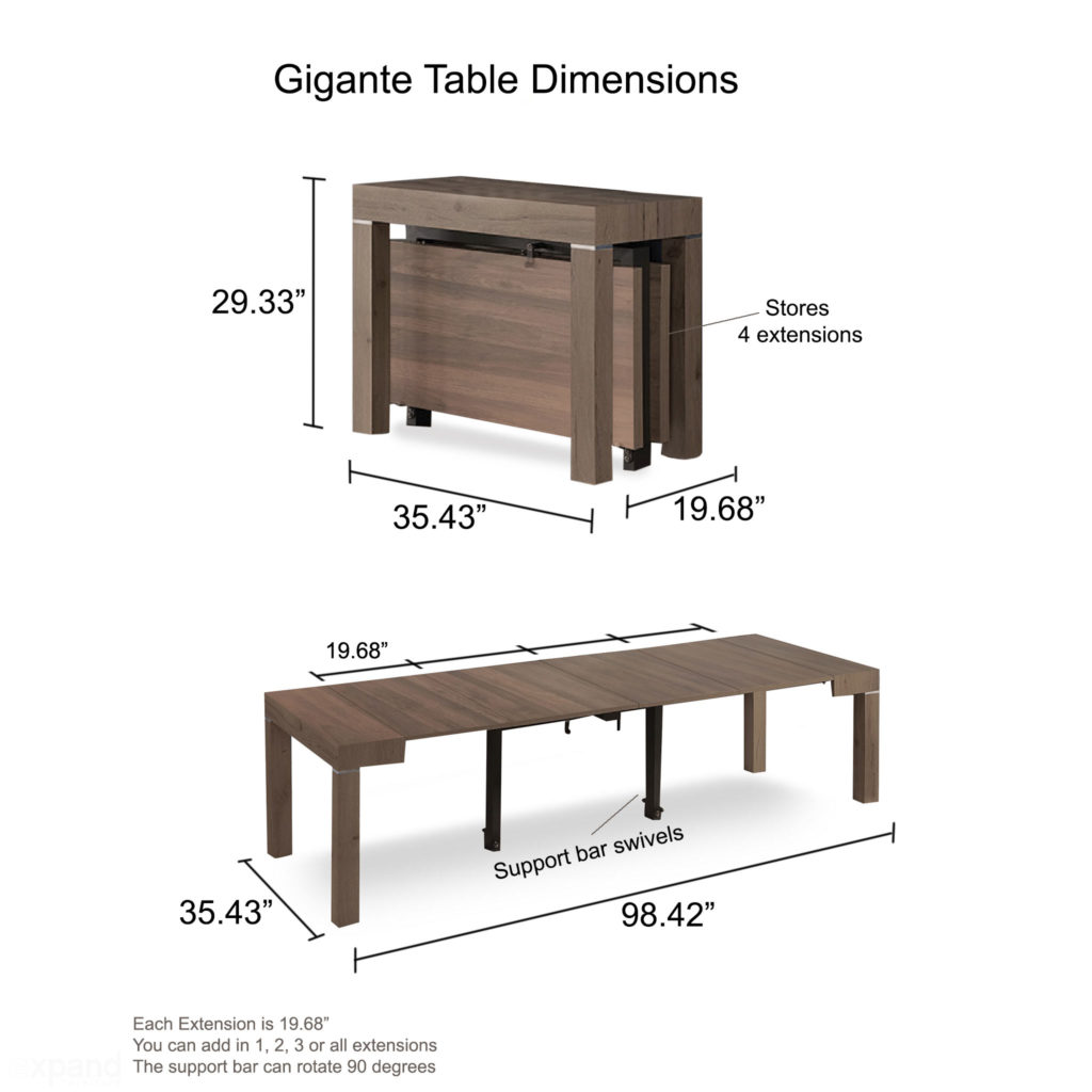 Gigante Transformer Table dimensions shown by Expand Furniture