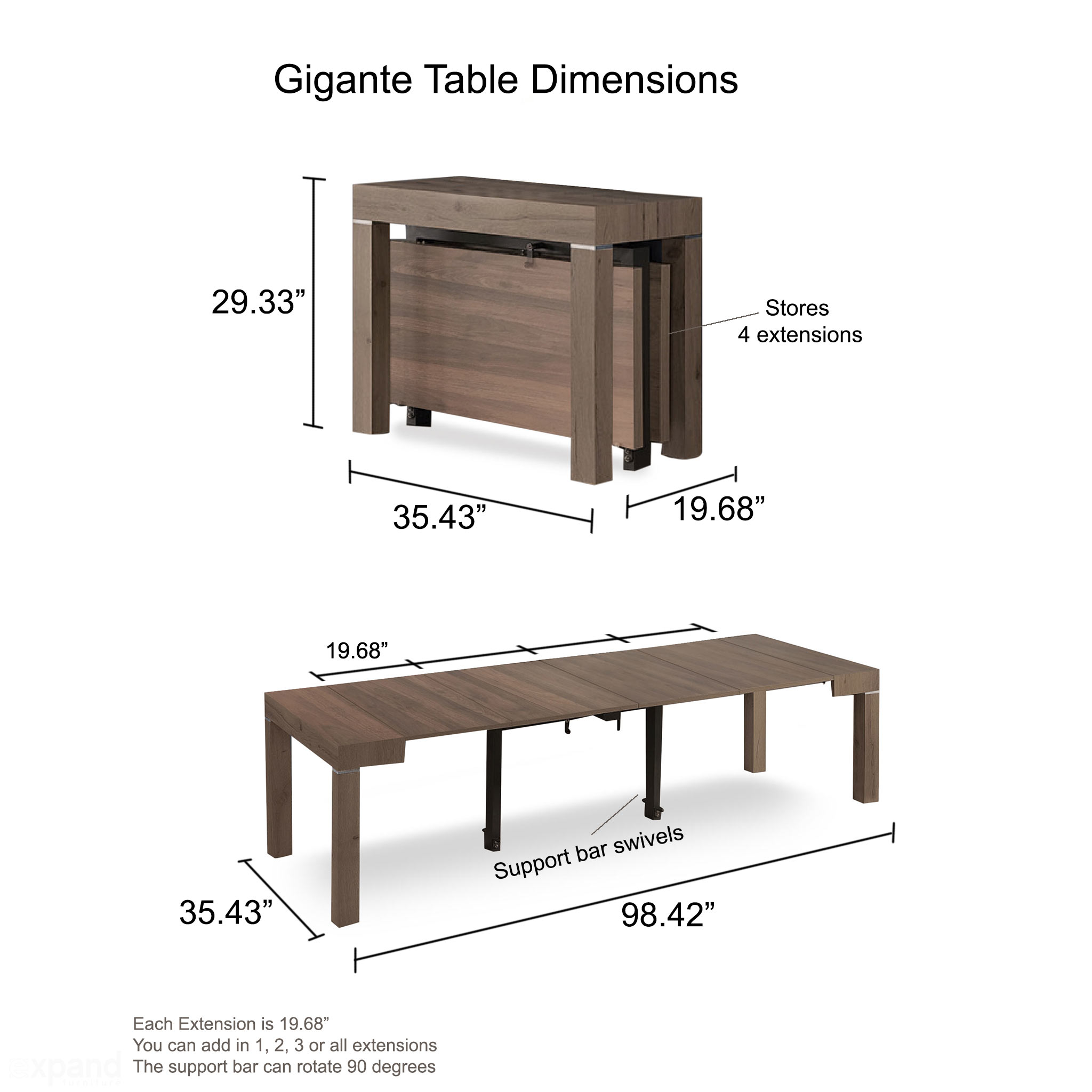 Gigante Transformer - Extending Wood Console Table  Expand Furniture