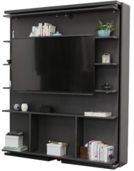 compatto-revolving swivel-wall-bed-tv-bookshelf with large tv example in rovere dark