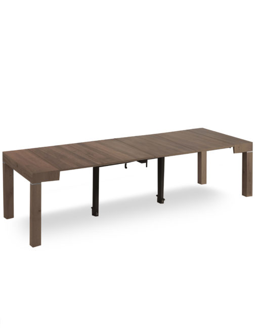 Gigante Extending Table with Self Storage, Chocolate Walnut color - Expand Furnitre