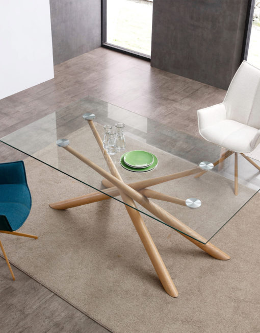 Balance-Clear-glass-rectangle-dinner-table-with-cross-layered-wood-legs