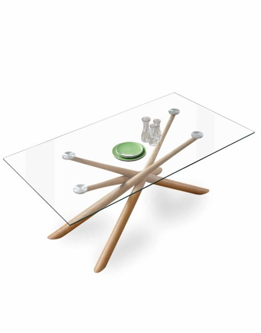 Balance-Clear-glass-rectangle-dinner-table-with-layered-wood-legs