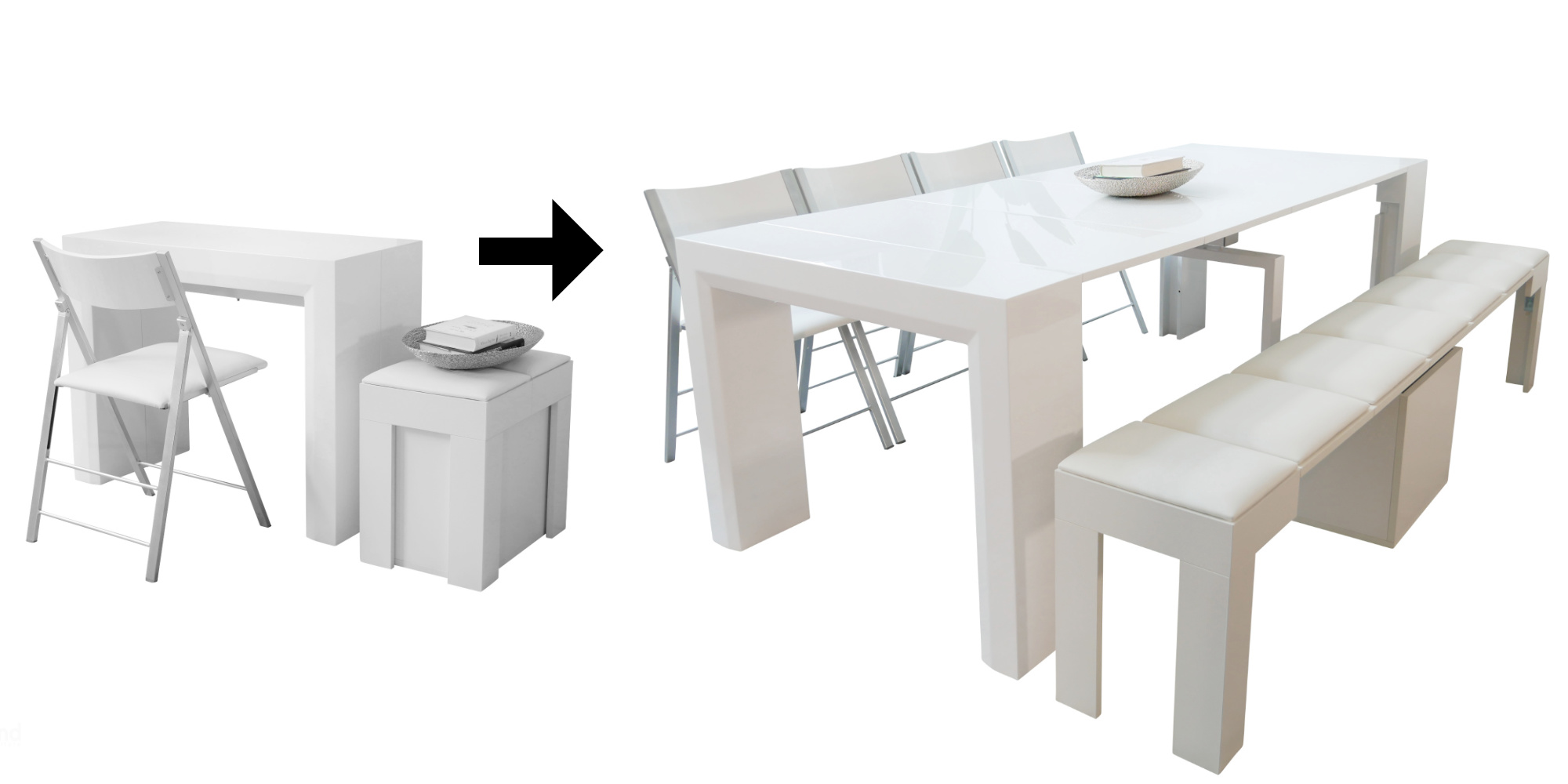The ultimate space saving dining set deal with a junior giant extending console table and 4 nano chairs and a mini scatola