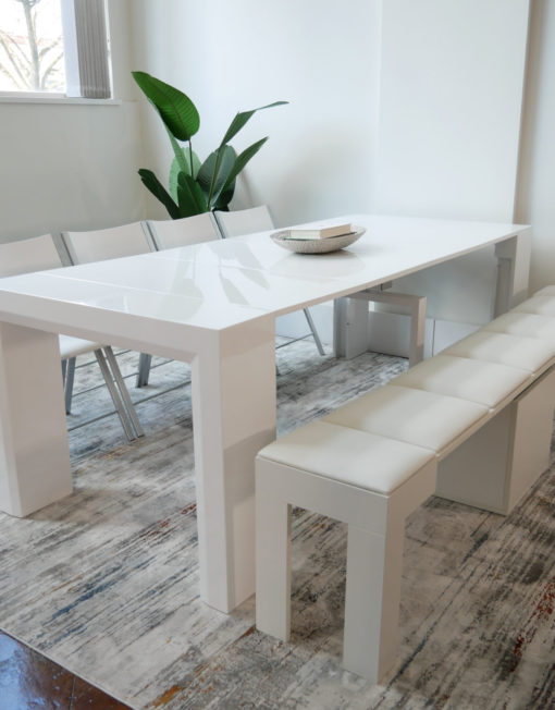 Ultimate dining set Junior Giant table in white gloss with white mini scatola extending bench and 4 white nano chairs