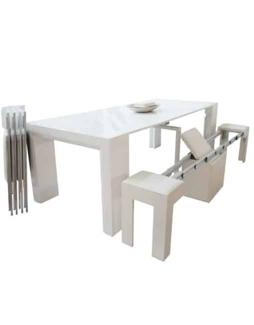 Ultimate dining set junior giant table with 4 folded nano chairs and a white mini scatola bench extended