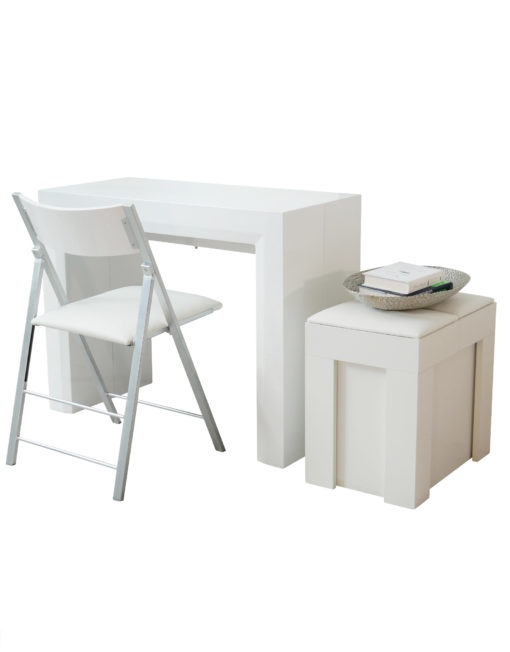 White Gloss Jr Giant in compact form with nano folding chair and mini scatola all ready to expand in size