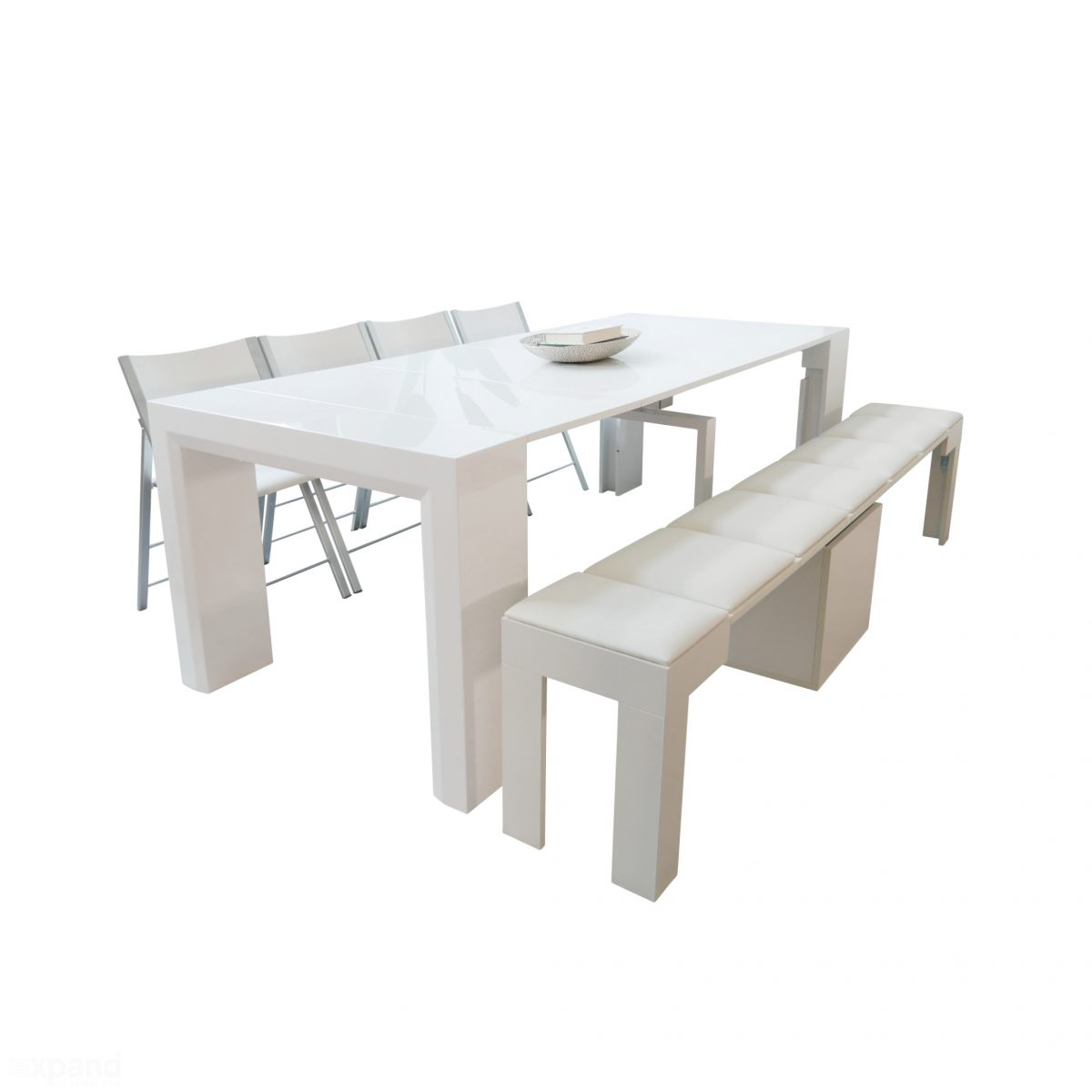 Ultimate Space Saving Dining Table Set  JG_GW_NANO_GW_JRBENCH_WHT