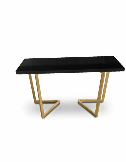 Flip Console in Black Gloss top with Gold legs