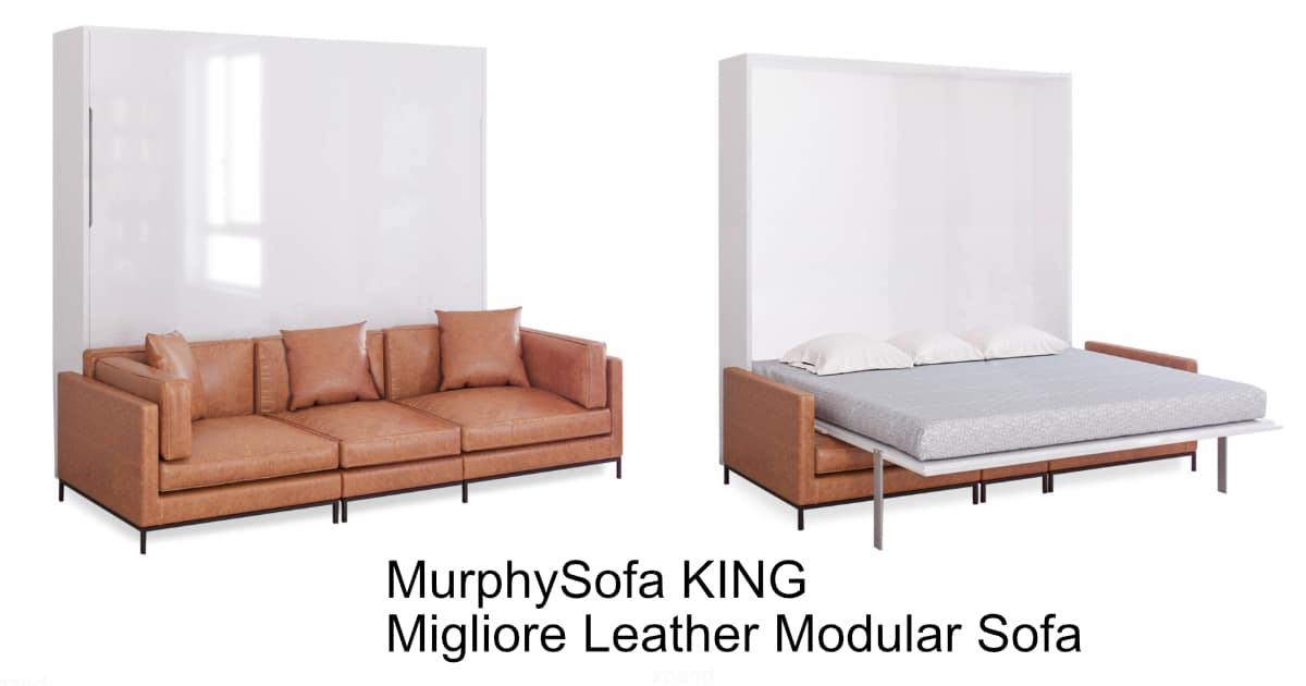 Murphysofa Migliore Modular King Size Wall Bed Sofa Brown