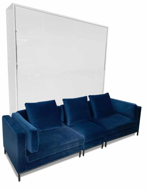 MurphySofa white glossy King wall bed with Modular Migliore Large sofa in Navy Blue