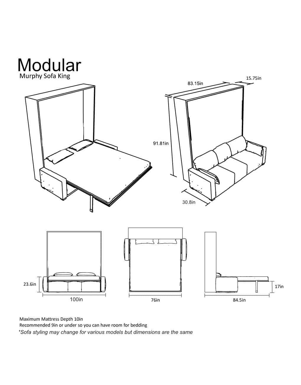 Modular King Size Sofa Wall Bed