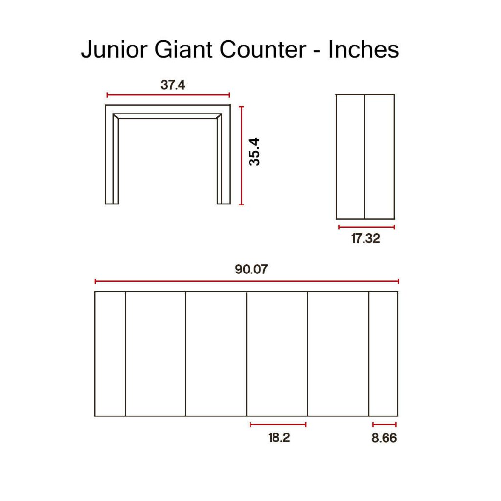 Junior-Giant counter height -Dimensions-in-Inches
