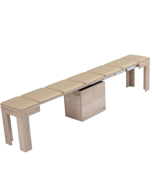Mini Scatola in Grano panel with soft seat - extending bench opened to seat 5