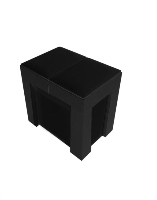 Scatola mini expandable extending seating for 5 in black with soft padded seat