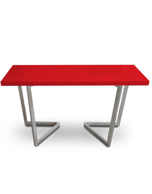Console-to-Dining-Table-in-red-gloss-with-silver-legs-specialized-small-space-solution-for-dinner-convertible