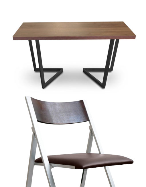 Flip-console-dining-set-chocolate-walnut-with-black-legs-and-walnut-nano-chairs