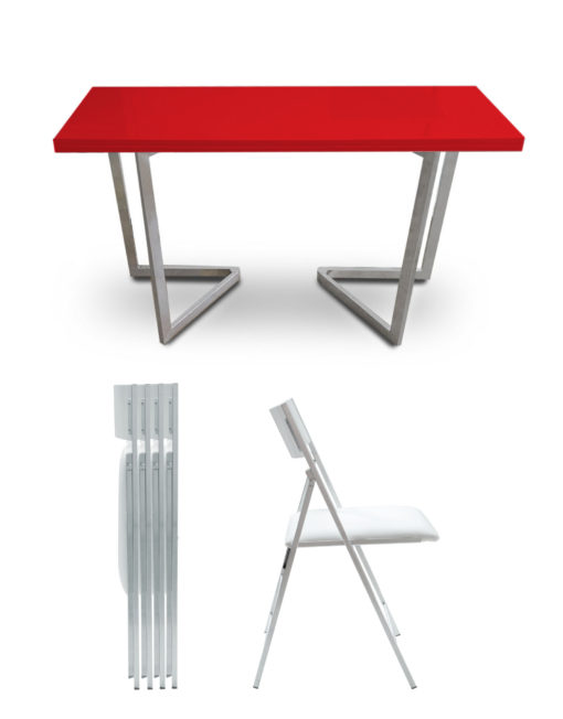 Flip-console-dining-set-red-gloss-silver-legs-and-white-nanos