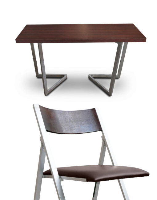 Flip-console-dining-set-walnut-with-silver-legs-and-walnut-nano-chairs