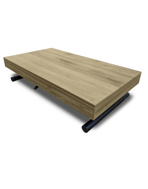 Alzare coffee to dining table in grano panel finish with natural wood grain and black legs on table