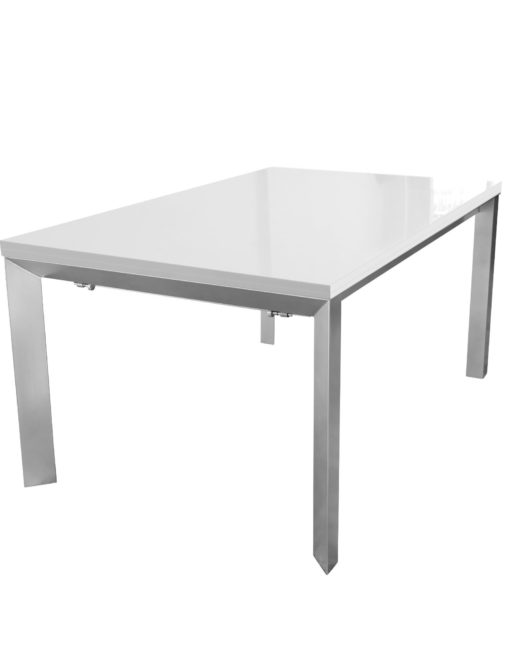 Mega-Abode-table-in-white-gloss-with-silver-legs-can-extend-to-be-a-very-lage-table